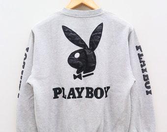 Vintage PLAYBOY Bunny Big Logo Gray Sweater Sweatshirt Size L