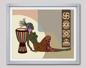 African Wall Decor, African Woman, African Artwork, African American Art, African Design Art