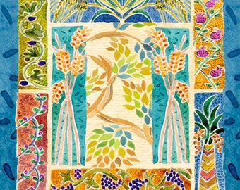 Custom Chuppah - personalized Chuppah - wedding Chuppah - Judaica art print on fabric - Huppah - Seven Species - Shivat haminim
