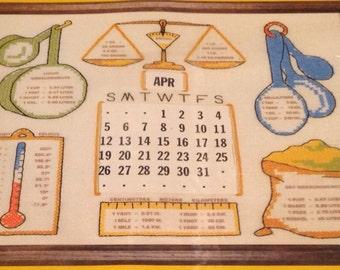 Sooz Sampler Cross Stitch Kit S135 Metric Conversion Calendar Soo-z Alexander Sliding Perpetual Calendar Inside Full Color Printed Linen