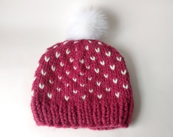 Chunky Knit Happy Heart Hat Winter Beanie Fur Pom-Pom Knitted Adult Wool Acrylic // Sister Friend Birthday Gift Present