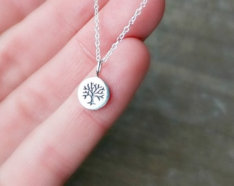 Silver Tree of Life Disc Necklace / Tiny Round Family Tree Pendant on a Sterling Silver Chain ... Options to Personalize