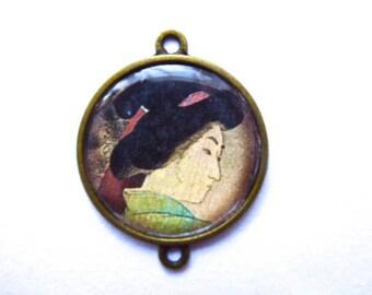Asian pendant, Japanese geisha, connector, bronze metal, silicone, 2, 5 cm in diameter