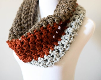 Cowl// Scarf // Barley // Orange // Grey Oatmeal Tri-Color Cowl // Winter Scarf // Handmade Knitwear // Women's Scarf// Winter Accessories