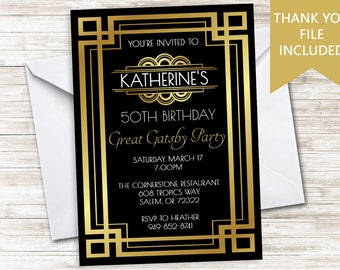 Great Gatsby Invitation Invite Digital Birthday Roaring 20's Party 5x7 Gold Black Adult ANY AGE  30th 40th 50th 60th