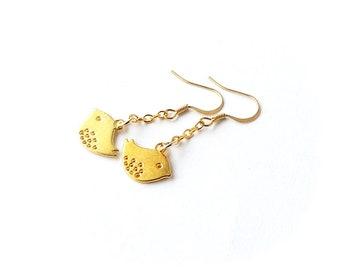 Gold Bird Earrings, Gold Plated Bird Charms on Dangle Chain Earrings, Charm Jewellery, Bird Jewellery, Animal, Bohemian Jewellery, UK Seller