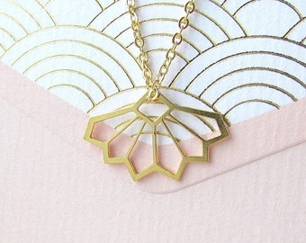 Sale Gold Geometric Necklace - Minimalist Necklace, Delicate Gold Necklace, Modern Geometric Jewellery, Gold Necklace, Geometric Necklace