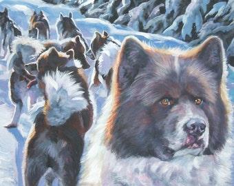 Greenland Dog art CANVAS print of LA Shepard painting 11x14