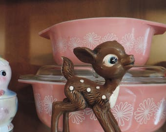 Vintage Ceramic Deer Fawn Christmas Deer Collectible Deer Doe Fawn Big Eyed Deer