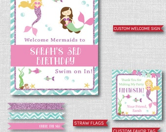 Mermaid Birthday Party Printable Package - Mermaid Themed Birthday Party Decor - DIGITAL DESIGN