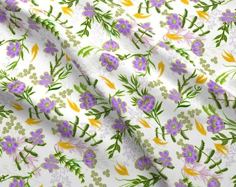 Purple Floral Fabric - Lourdes Iveta Abolina By Onesweetorange - Purple Floral Flowers Garden Cotton Fabric By The Yard With Spoonflower