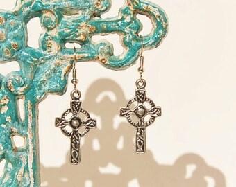Celtic Cross Earrings Antiqued Silvertone