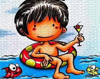 Party Shy Digital Stamp by Sasayaki Glitter