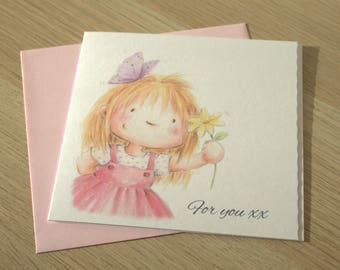 """Girls Birthday Card 6"""" x 6"""""""