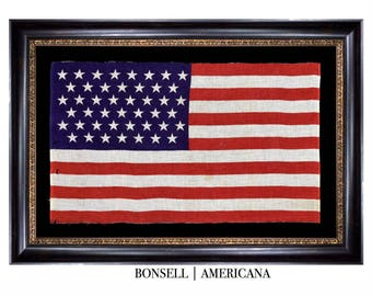 45 Star Antique Flag with Tumbling Stars and Elongated Proportions   Utah Statehood   Circa 1896-1907
