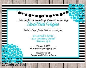 Printable Wedding Shower Invitation.  Bridal Shower.  Bridal Lunch.  Baby Shower Invitation. Bridal Shower Invite.