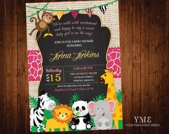 Jungle Safari Girl Baby Shower Invitation - Jungle Shower Invites - Safari Animal Invitation - Baby Sprinkle - Baby Girl Shower