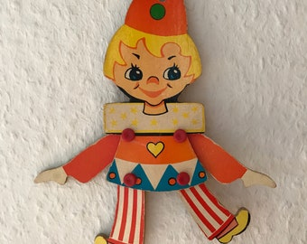 Vintage Jumping Jack, clown, baby toy, 1970s