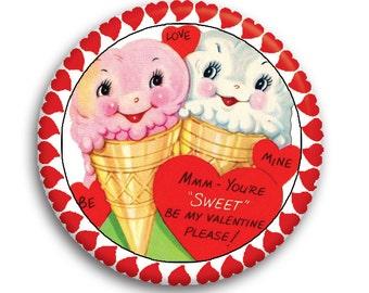 """LIQUIDATION SALE! Valentine Retro Ice Cream Magnet or Pinback 2.25"""""""