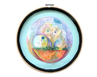 """Art intuitif : """"Des idées pour les jours de pluie"""", art dessin techniques mixtes, déco originale cercle, tableau rond, mandala, pièce unique"""