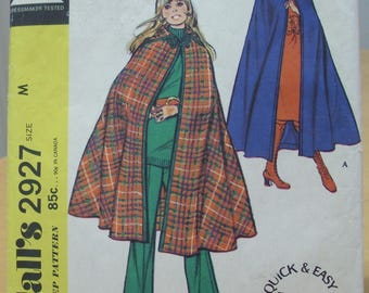 McCall's 2927 Cape with hood sewing pattern. Size Medium. UNCUT