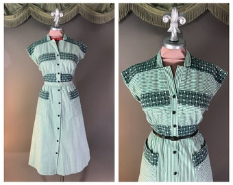 50s dress 1950s vintage GREEN EMBROIDERY STRIPE cotton full skirt day dress