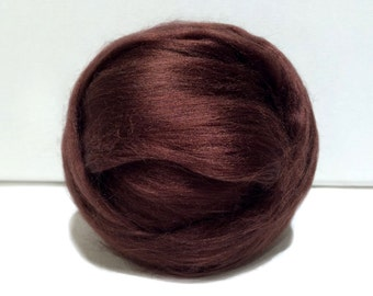 Espresso brown Bamboo roving, top, Needle Felting Spinning Fiber, chocolate, coffee, pecan, cafe brown, cocoa 1 oz.