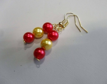 Dangle earrings red and gold wedding jewelry
