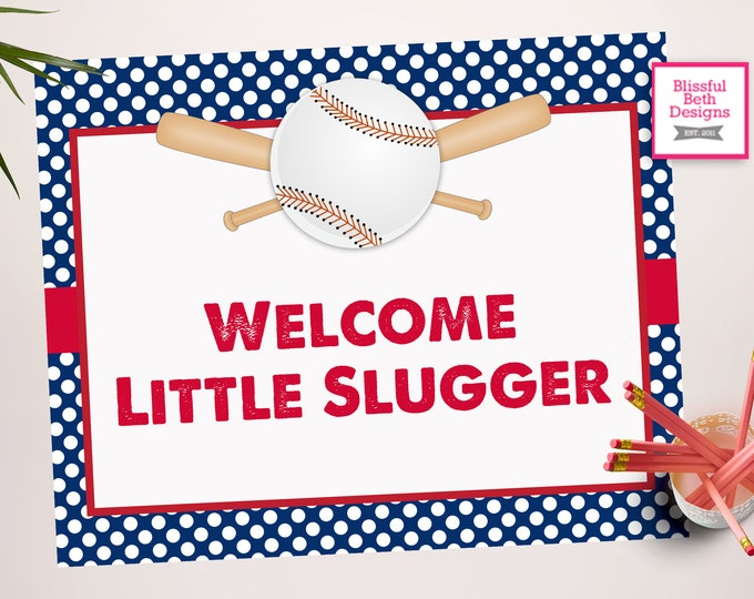 Welcome Little Slugger Sign - Baseball  Sign -Baseball Baby Shower - Baseball Shower - Baseball Shower--Little Slugger Sign