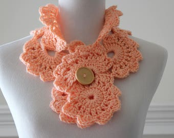 Crocheted Peach Scarf Neckwarmer