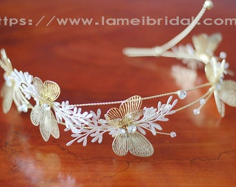 Golden Butterfly Head Crown Wedding Hair Accessory with leafs and Faux Pearl Accents, Bridal Butterfly headband, wedding hair vine