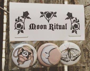3 button pack: Moon Ritual