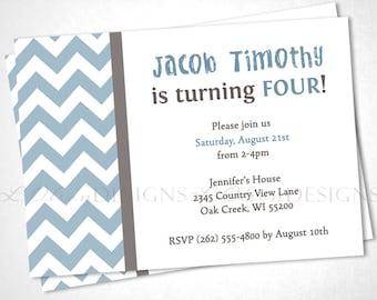 Blue Chevron Birthday Invitation