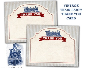 Vintage Train Party Thank You Card, vintage steam engine, Instant Download, Print Your Own