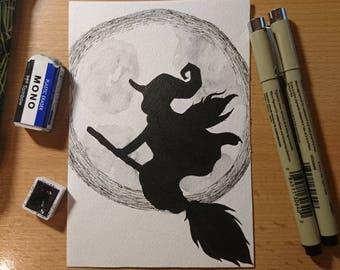 """Drawlloween original art """"Witch"""" (postcard)"""