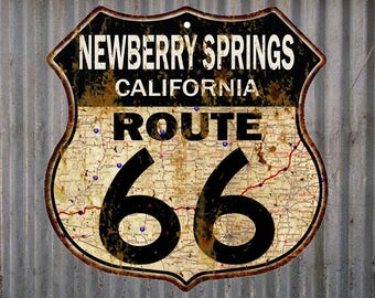 Newberry Springs, California Route 66 Vintage Look Rustic 12X12 Metal Shield Sign S122067