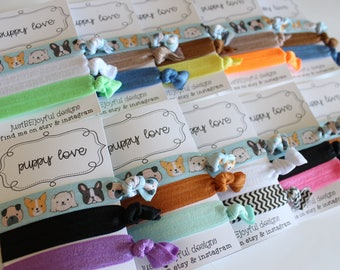 Puppy Love - No Crease Hair Tie - Party Favors - Soft Hair Tie - Workout Hair Tie