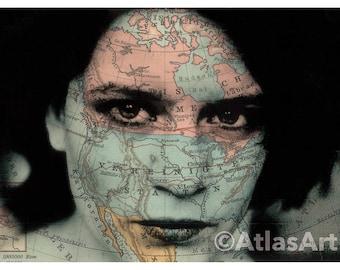 5 Postcards 'I trawl the Megahertz', Set of 5,  home decor, collage, woman, art, photography