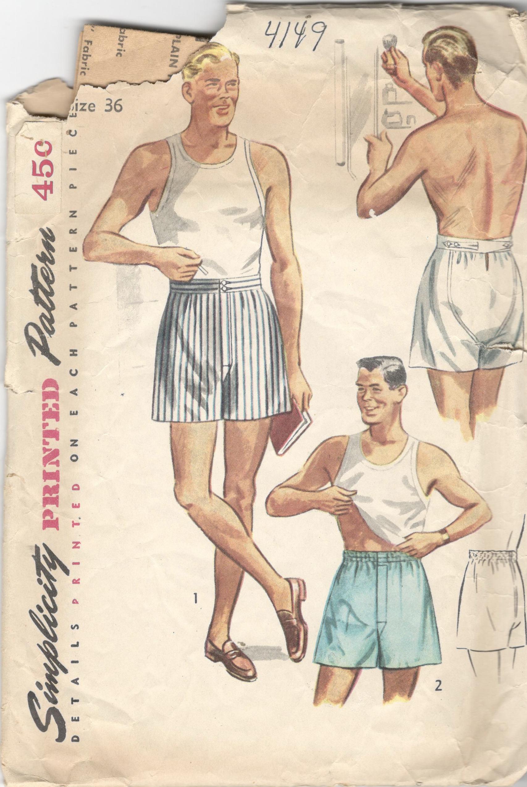 Einfachheit 4149 1950s vorne Herren BOXER-SHORTS Muster