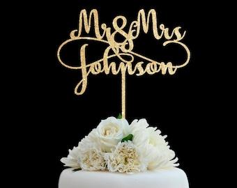 Customized Wedding Cake Topper, Personalized Cake Topper for Wedding, Custom Personalized Wedding Cake Topper, Last Name Cake Topper # 06