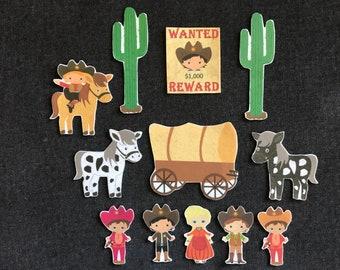Cowboys and Cowgirls Felt Board Story // Flannel Board // Imagination // Children // Wild West //