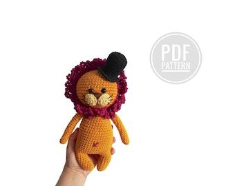 CROCHET PATTERN - lion with a hat - woodland animal - jungle - zoo - amigurumi - fashion lion - little kimimals - stuffed animal