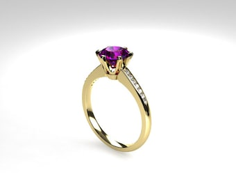 Amethyst  engagement ring, rose gold, Yellow gold, white gold, Diamond, engagement ring, purple, solitaire, unique, purple solitaire rings