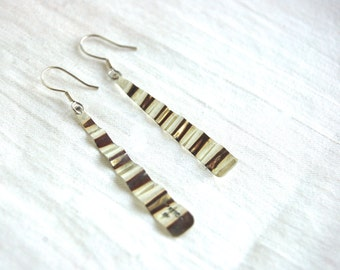 Long Crimped Sterling Silver Dangle Earrings Vintage Mexican Dangles Thin Modern Minimalist Wave Jewelry