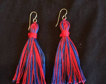 Red and Blue Tassel Earrings