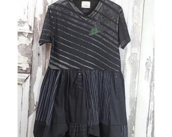 Upcycled Clothing Women's Black Dress Mori Girl Style Tunic Dress Eco Fashion Upcycled Dress Recycled Reused Repurposed Dress
