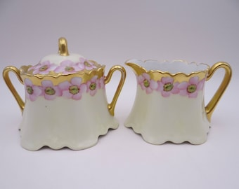 1880s Hand Painted Vintage Bavarian ZSC Zeh Scherzer & Co Pink Flower Creamer and Sugar Bowl  - Charming