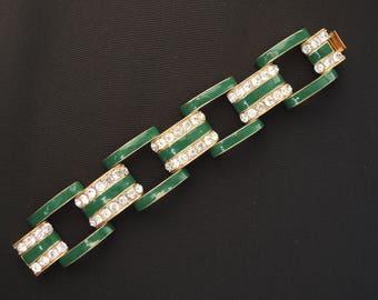 Green Chunky Link Bracelet with Rhinestones by J Crew
