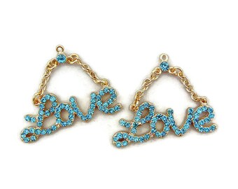 Pair of Turquoise Blue Rhinestone Love Charms Gold-tone Double Link Chain