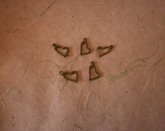 set of 10 heart charms bronze 20 mm x 11 mm